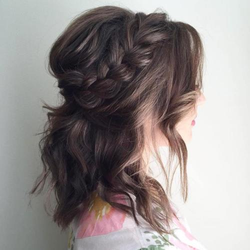 Messy half updo with a braid