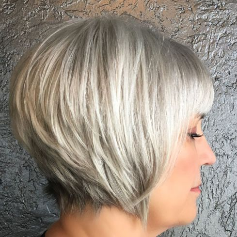 Short gray hair with white blonde balayage