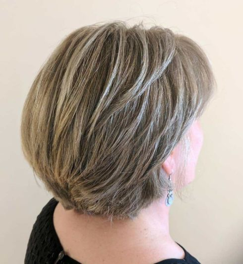 Short layered dark blonde cut for thick hair