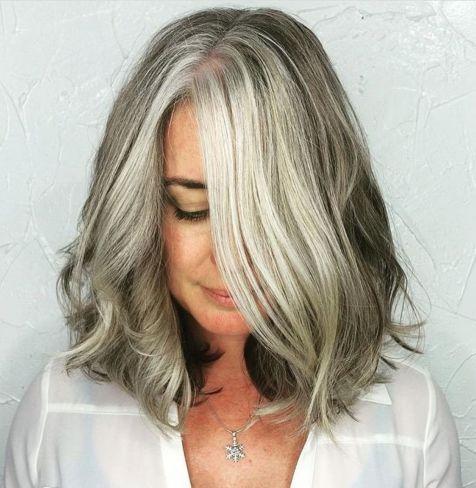 Shoulder length gray wavy bob