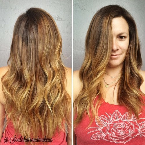 Side parted hair with subtle ombre