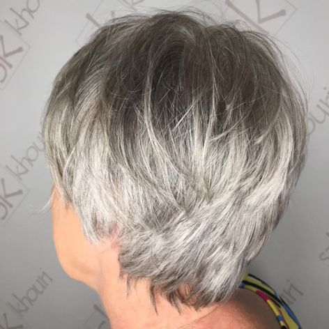 Tousled layered gray pixie