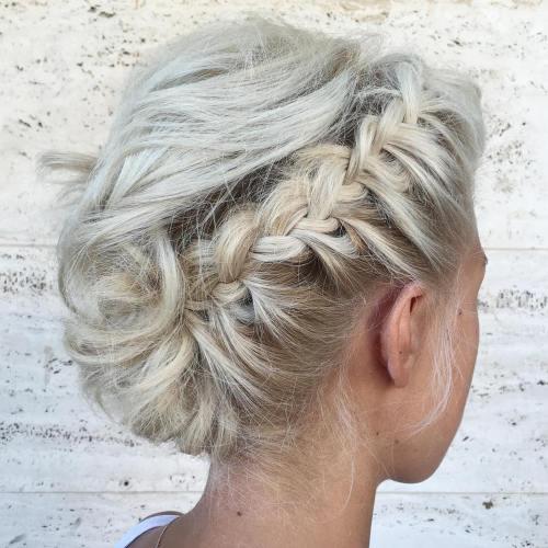 Asymmetrical braided messy updo