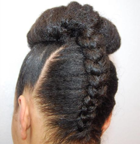 Black upside down braid and bun