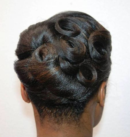 Black vintage pin curls updo