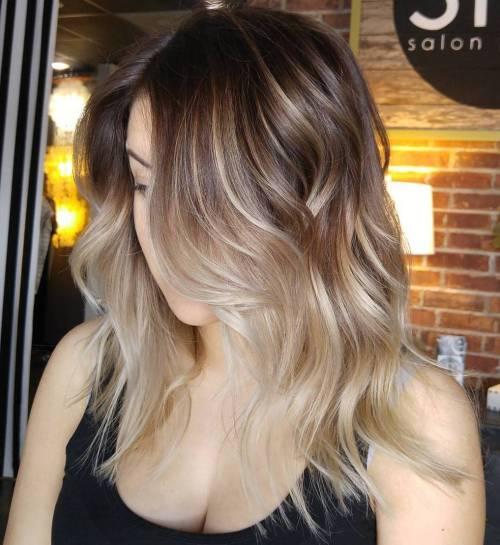 Blonde balayage for medium brown hair