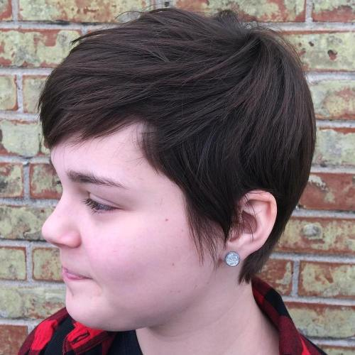 Brown layered pixie