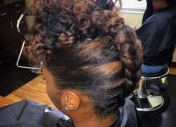 Dutch braid updo with a curly top