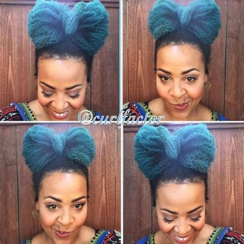 Funky bow updo for black women