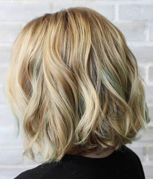 Golden blonde wavy bob hairstyle