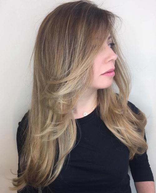Long ash bronde layered hairstyle