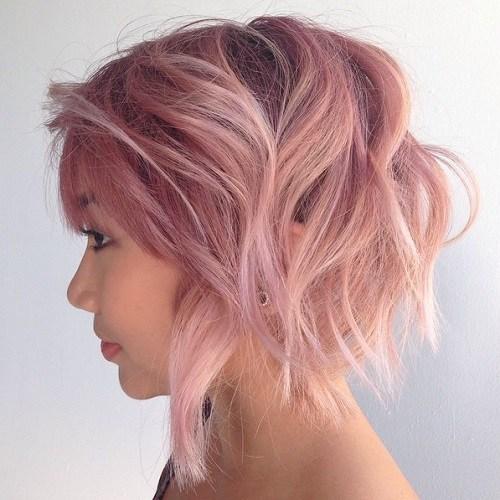 Pastel pink messy bob