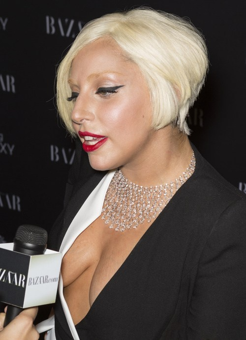 Platinum blonde stacked bob of lady gaga