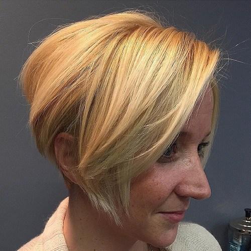 Short angled blonde bob
