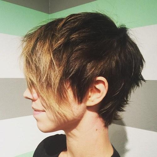 Short choppy haircut with long bangs