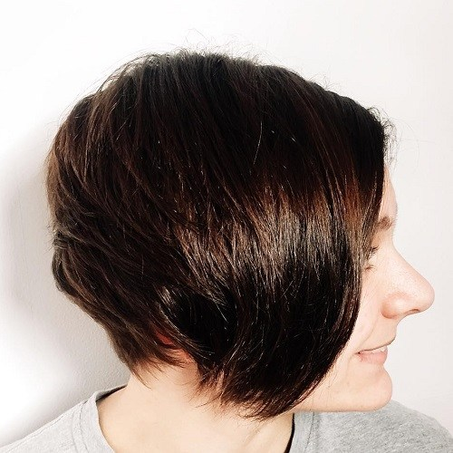 Short layered brunette hairstyle