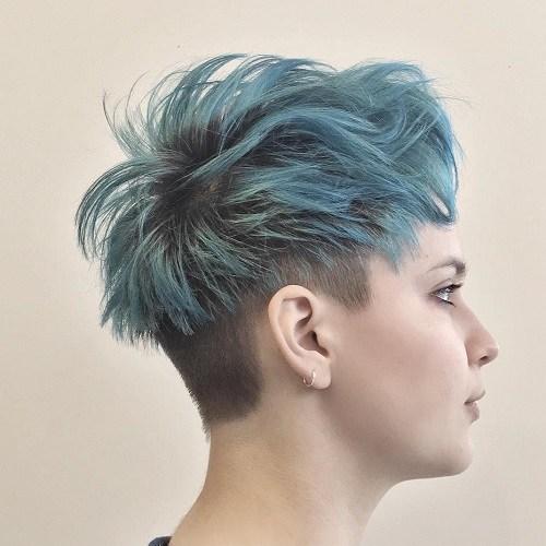 Short shaggy pastel blue undercut hairstyle
