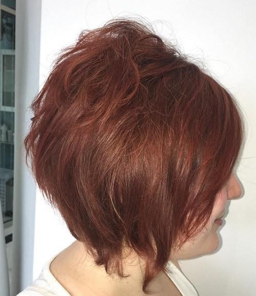 Short tousled auburn hairstyle